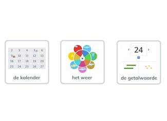 Begin de dag met de kalender, het weer en het oefenen van getalwaarde.