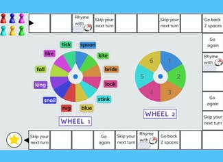 Spin the wheel and rhyme with the word you land on!