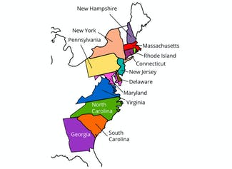 I can describe the 13 original colonies and the regions where they are located.