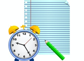 I can write and set time with 10 and 5 minutes using an analog clock.