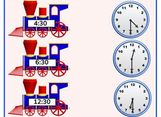 I can write and set time with half hours using analog clocks.