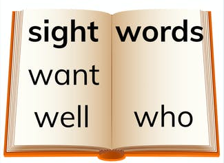 """I can build and read sight words """"want,"""" """"who,"""" and """"well."""""""