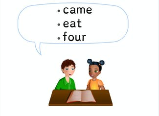 """I can build and read sight words """"came,"""" """"eat,"""" and """"four."""""""
