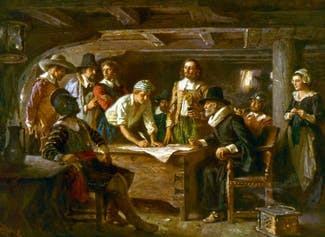 I can describe the end of the journey on the Mayflower, and explain the purpose