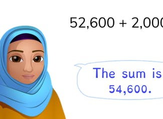 Students learn to add to 100,000 with simple numbers.