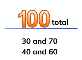 Decomposing and composing 100 from round numbers