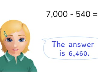 Students learn to subtract to 10,000 with simple numbers.