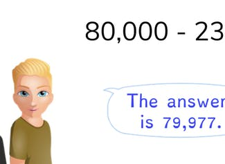 Students learn to subtract from a ten-thousands number.