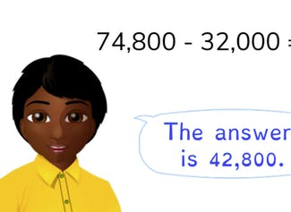 Students learn to subtract to 100,000 with simple numbers.