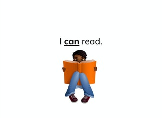 """I can recognize and read the words, """"I,"""" """"can,"""" and """"a."""""""
