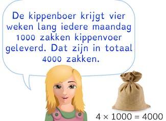 Vermenigvuldigen met eenvoudige getallen en duizendvouden.