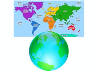I can identify the similarities and differences between a globe and a map.