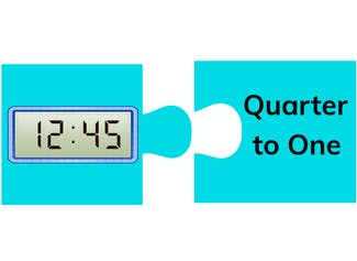 I can tell and write time to the quarter-hour using digital clocks.