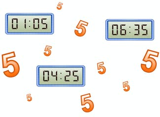 I can tell and write time with 10 and 5 minutes using analog clocks.