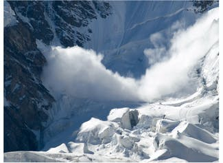 I can describe an avalanche and explain how to stay safe during one.