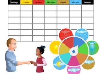 Saludos, calendario, días en la escuela y el clima del día.