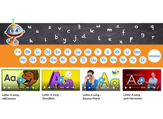Reinforce letter names and sounds by listening and dancing to alphabet songs!