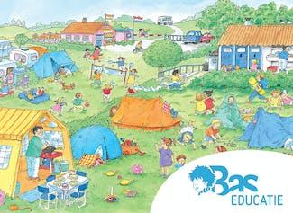 Een gedetailleerde praatplaat voor thema vakantie/kamperen.