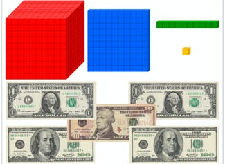 Use base ten blocks to visualize quantities and place value. Count money too!
