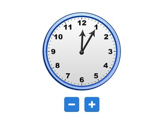 An Analog Clock that can be adjusted using the hands or the + and -.