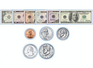 Arrastra y suelta billetes y monedas en el pizarrón