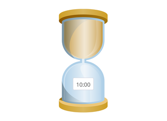 Breng de tijd die over is in beeld met een zandloper.
