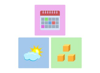 Start your day with the calendar, weather, and number of the day.